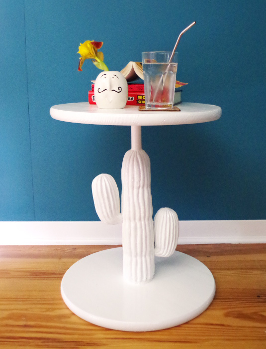 Turning-a-thrift-store-plastic-cactus-into-a-chic-side-table-after-2-Plaster-Disaster