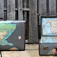 Claire's #Upcycled #Vintage Map Suitcases