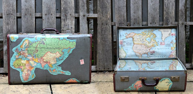 diy map suitcase