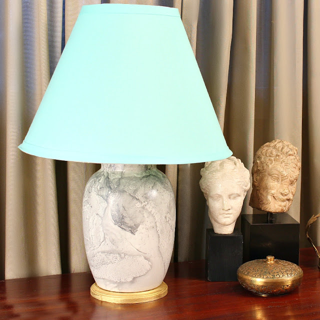 diy marbled thrifted lamp
