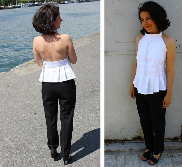 diy pleated neckholder blouse