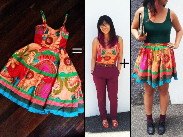 Dress to top & skirt refashion tutorial