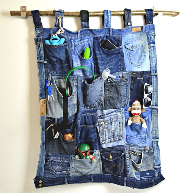 ucycled denim pocket wall organizer