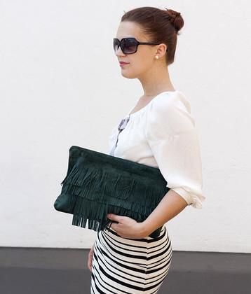 upcycled leather fringe clutch diy tutorial
