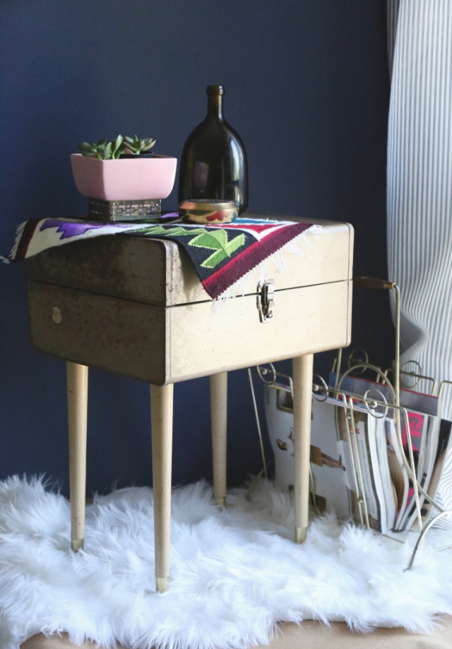 upcycled vintage toolbox table diy