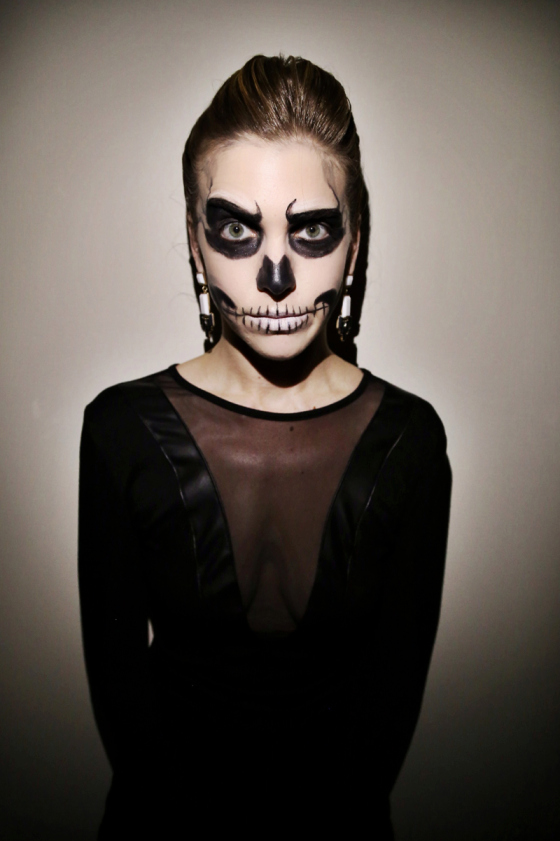 DIY glam skeleton costume