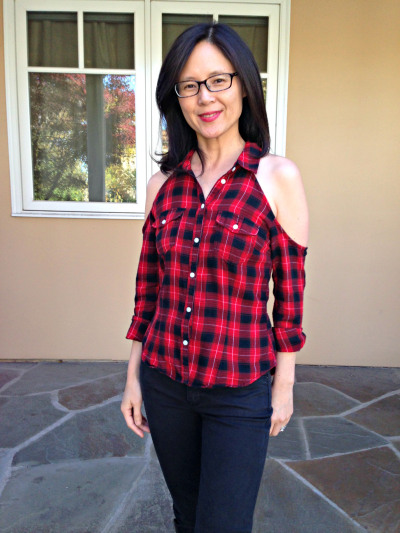 cold shoulder flannel shirt refashion