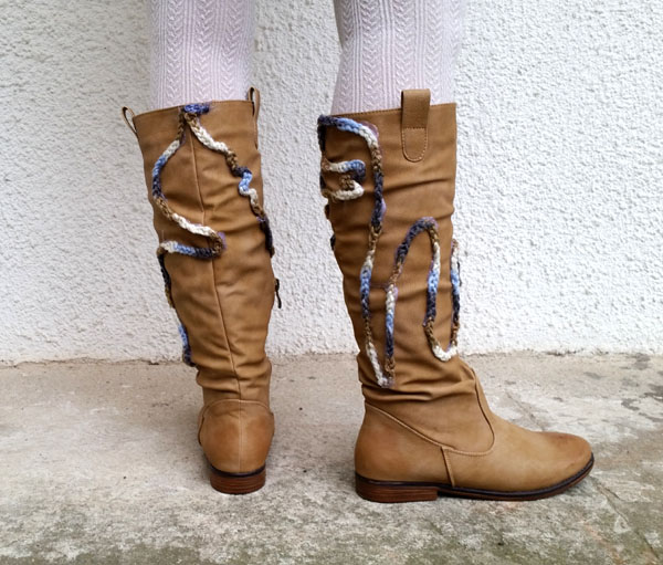 diy crochet embellished boot refashion