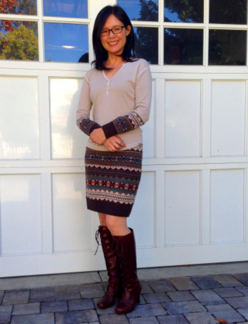 diy sweater skirt and top