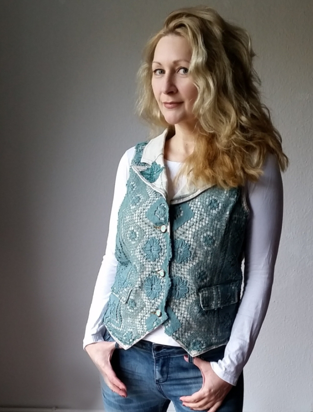diy upcycled crocheted vest refashion tutorial