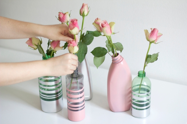 upcycled bottle vases tutorial