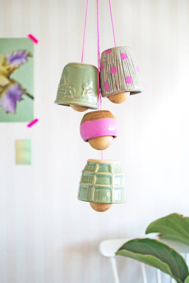 upcycled diy thrifted cup bells