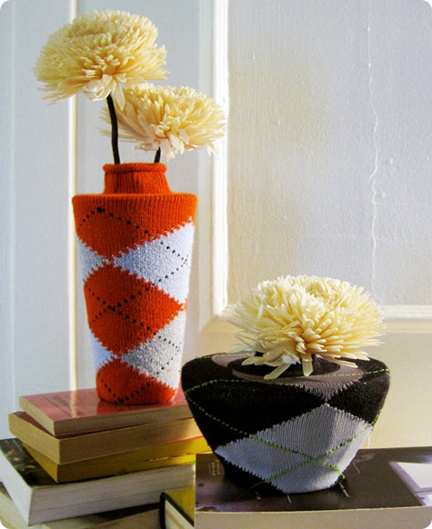 DIY sock embellished vases