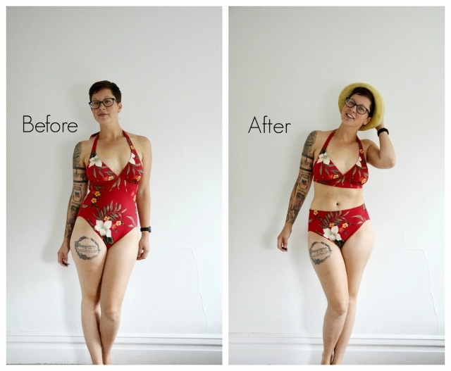 no sew DIY high waisted bikini
