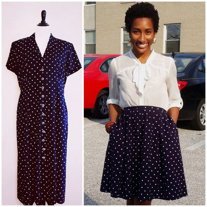 thrifted dress to skater skirt refashion tutorial