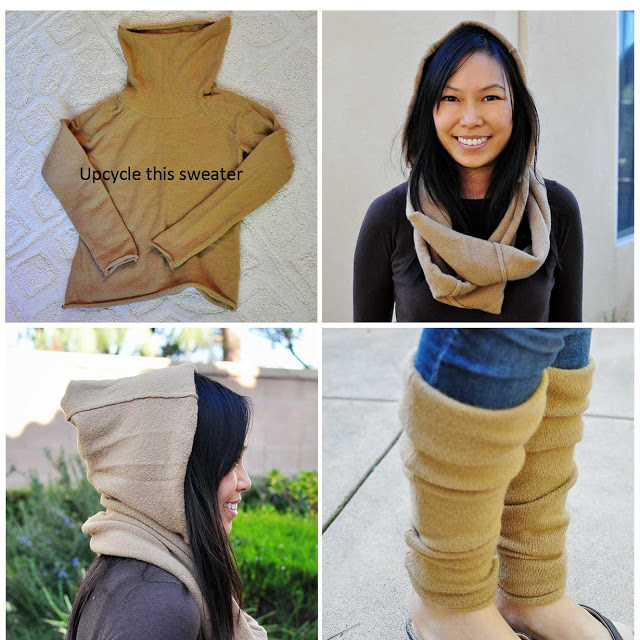 Upcycled sweater refashion to legwarmers and snood tutorial