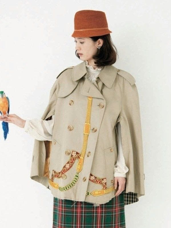 upcycled trenchcoat to cape refashion tutorial