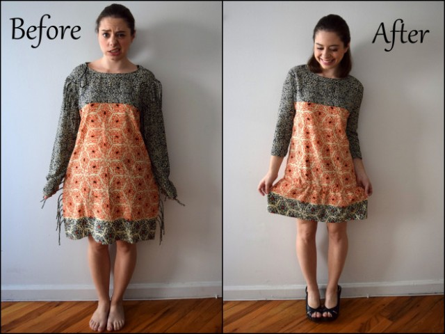 an easy too big dress refashion tute