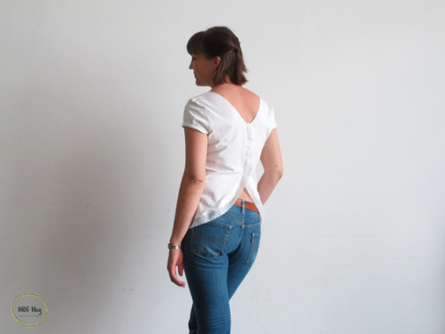 customized open back shirt refashion