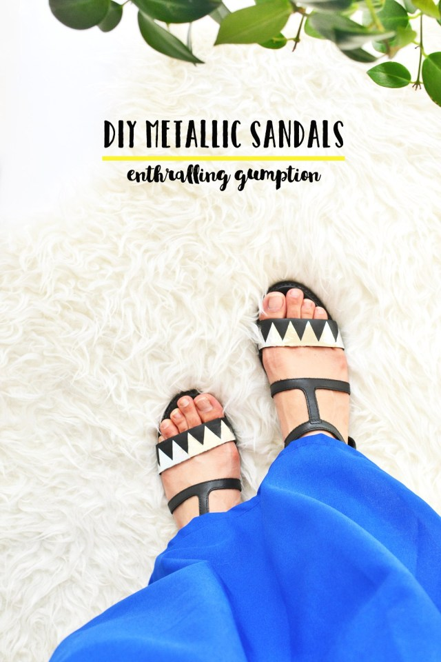 DIY-metallic-sandals refashion
