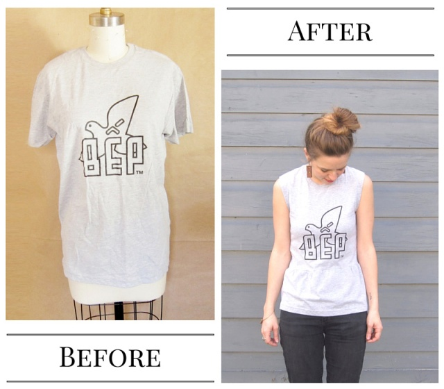 diy t-shirt to peplum top tutorial