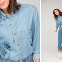 Virginie's Textured Denim Shirt #Refashion