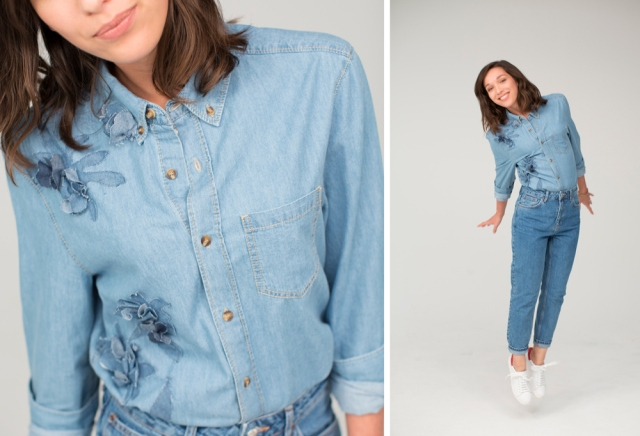DIY-Video-Denim-Floral-Shirt Refashion