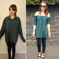 Emily's #Refashioned Off-Shoulder Boyfriend Shirt