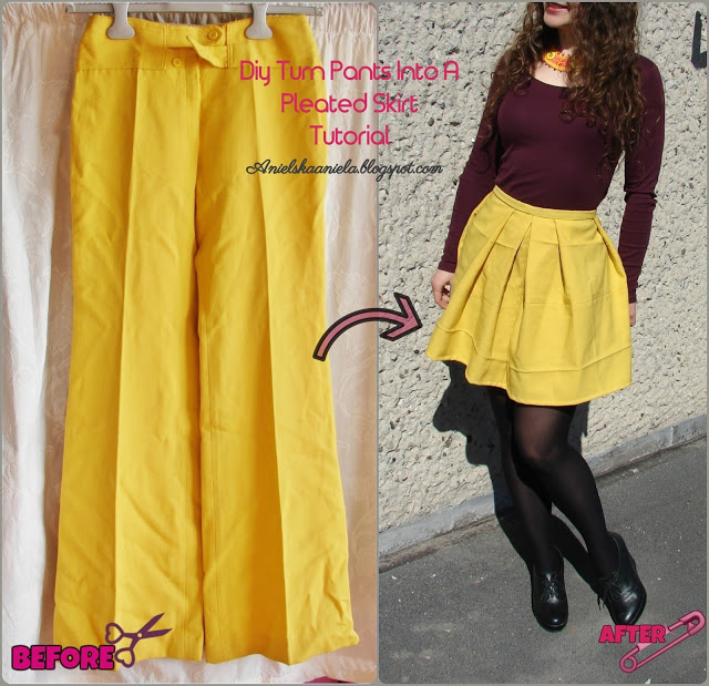 trousers to pleated skirt refashion