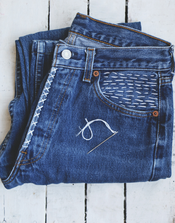 sashiko embellished denim