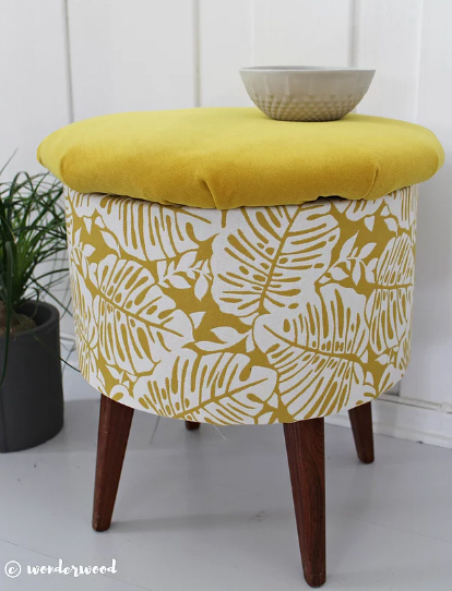 thrifted footstool recover tutorial