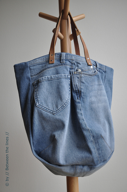 diy upcycled jeans tote