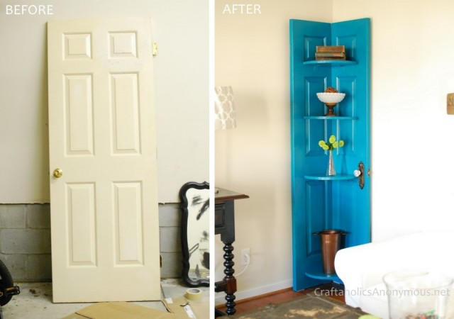 DIY door to corner shelf tutorial