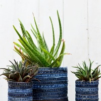 #Scrapbusted denim planters
