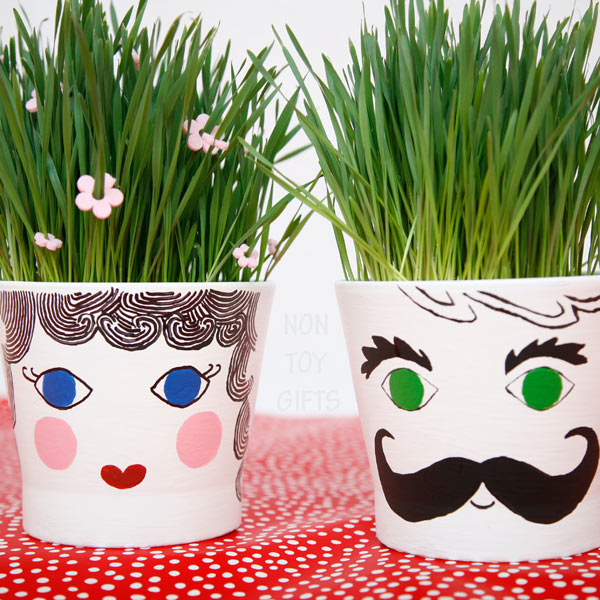 diy grass head plant pots for kids