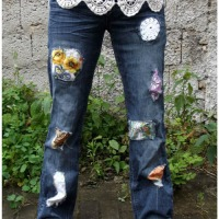#Scrapbusting Patchwork Jeans #Refashion
