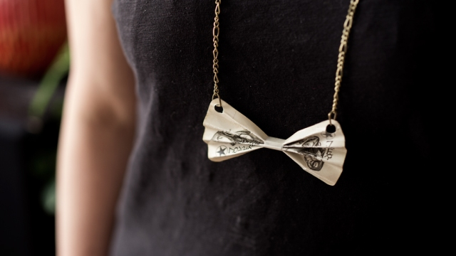 upcycled playing card necklace