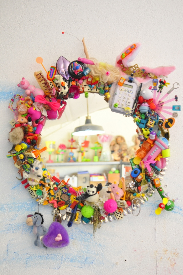 upcycled toy embellished mirror diy