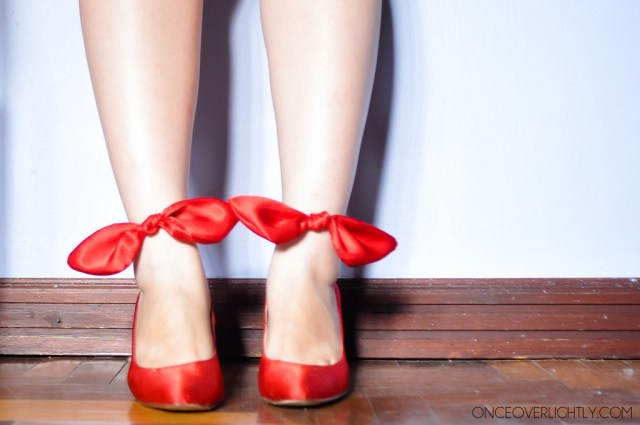 diy bow heels refashion