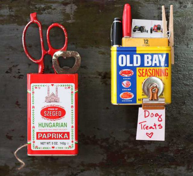 upcycled magnetic can storage