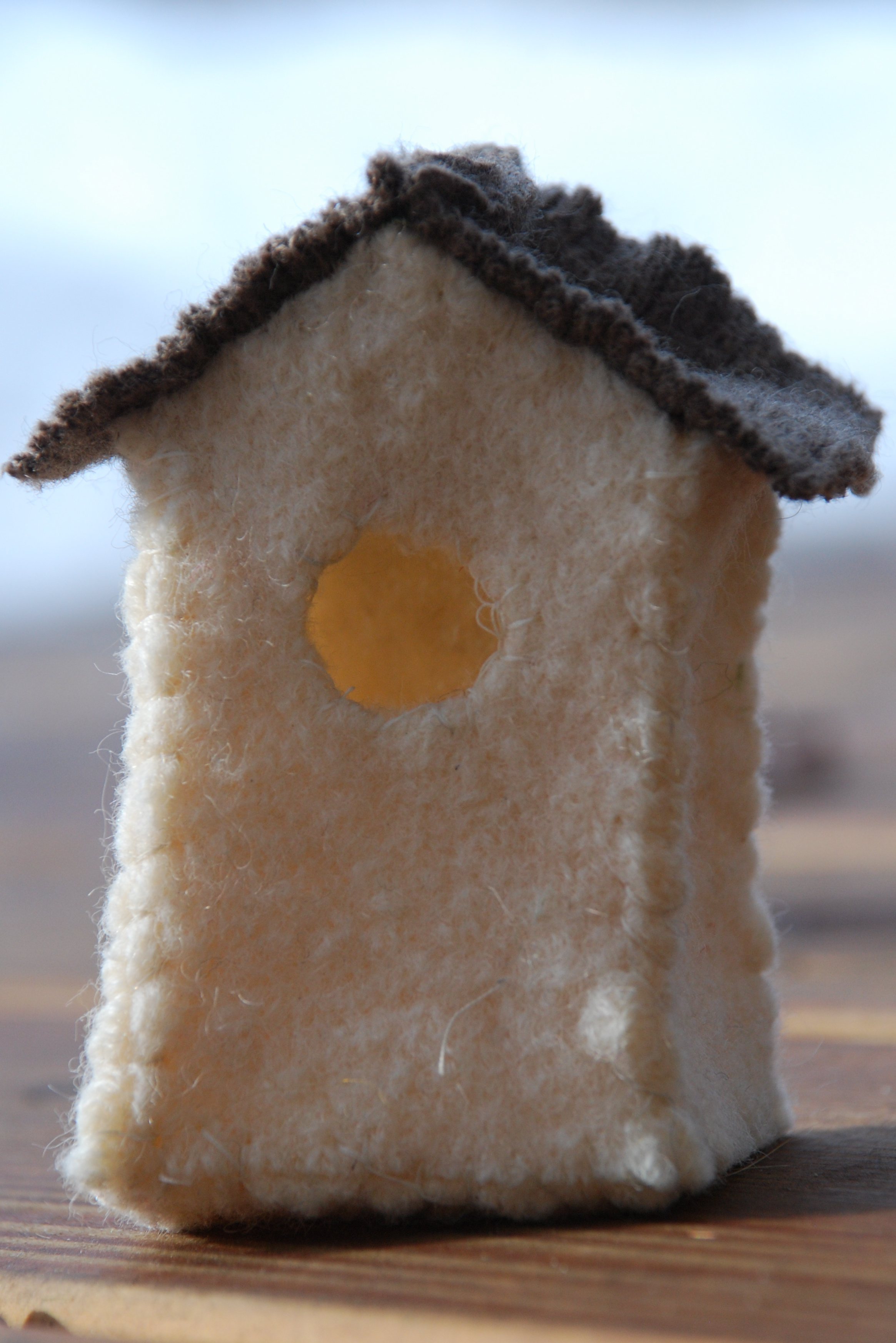 upcycled sweater birdhouse