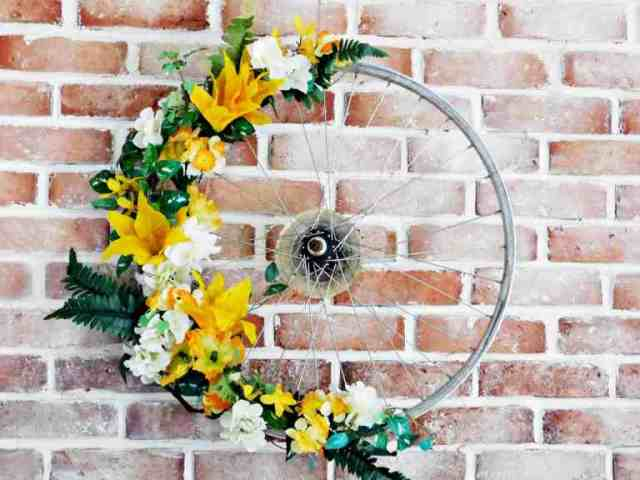 upcycled bike tire wreath