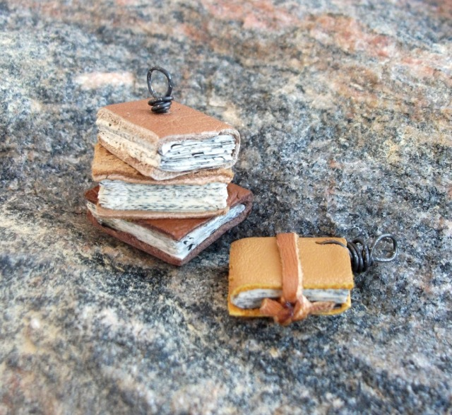 upcycled mini book pendants