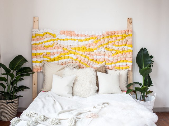 diy woven headboard upcycle tutorial