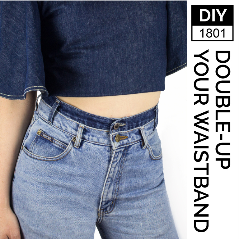 kinsu- diy high waited jeans double-waistband