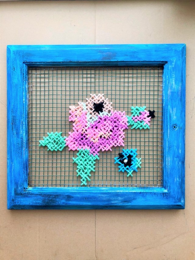 upcycled window frame cross stitch art