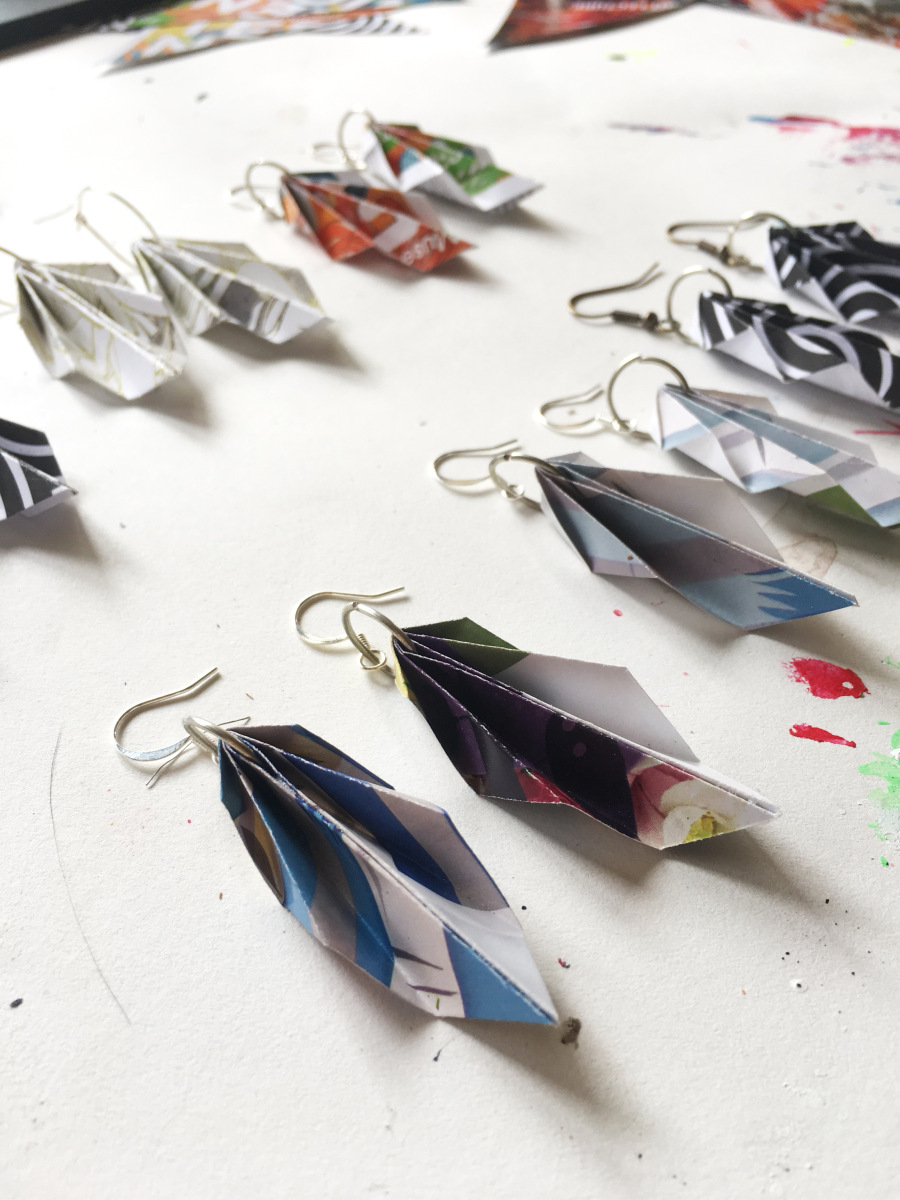 diy upcycled paper origami earrings
