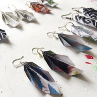 #Upcycled Origami Earrings
