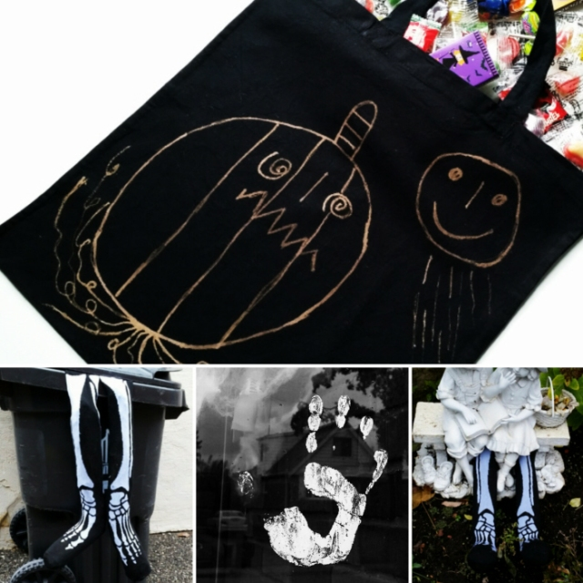diy halloween bag and upcycled diy decor