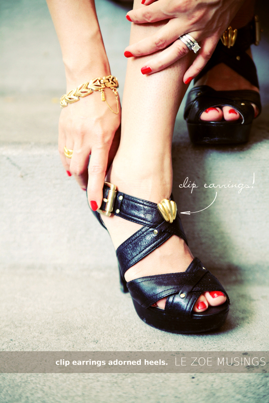 easy shoe refashion with clip on earrings